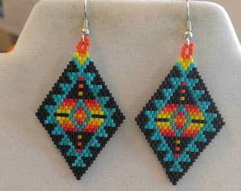 Native American Style Beaded Turquoise Blanket Earrings No Fring Southwestern, Brick Stitch, Gypsy, Peyote, Tribal Great Gift