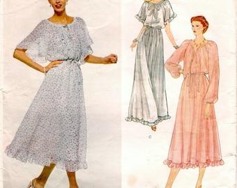 Romantic Vintage 1970s Vogue American Designer 2125 Albert Nipon Raglan Sleeve Peasant Style Dress and Belt Sewing Pattern B34
