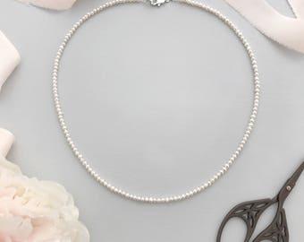 Freshwater pearl wedding necklace, Wedding necklace, Freshwater pearl bridal necklace, Pearl string necklace