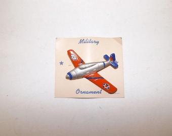 Vintage 1950s large American Military aeroplane plane aircraft metal pin brooch on original card