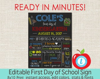 First Day of School Sign, Chalkboard, 1st Day of Kindergarten sign, ANY GRADE, 1st Day School Printable Sign, EDITABLE, Instant Download