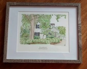 Custom Home Portrait in Ink and Watercolor