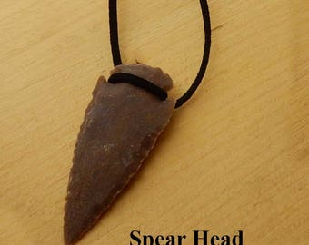 Spear Head Pendant. Red jasper spear head hung on black leather. Gift for him or her. Birthday gift. Friendship gift. Boyfriend gift. Father