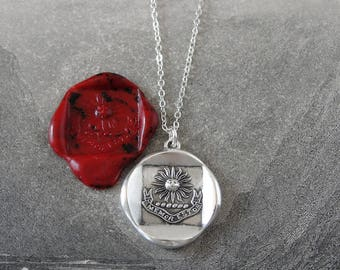 Sun Wax Seal Necklace - Genealogy Family Heritage antique wax seal charm jewelry Latin motto Be Mindful Of Thy Ancestors by RQP Studio