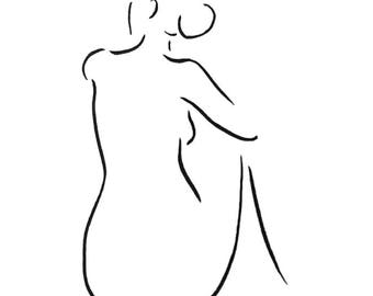 Nude sketch. Woman from back. Black and white minimalist line drawing. 11.7 x 16.5 in