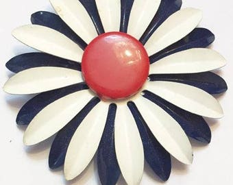 Vintage Red White and Blue Enameled Metal Large Flower Brooch