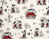 """Fat Quarter (18""""x22"""") ONLY of Disney's Mickey & Minnie Vintage Scene of Romance from Springs Creative"""
