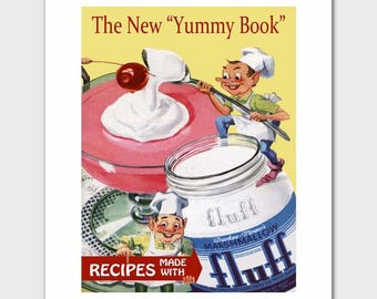 """Retro Kitchen Novelty Wall Decor (1960s Candy Art, Vintage Cookbooks Cooking Gift) """"Marshmallow Fluff"""" --- Food Print"""