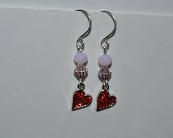 Little Red Heart Beaded Earrings