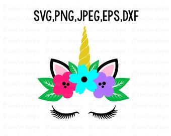 Unicorn Head SVG, Unicorn SVG, Unicorn Clipart, Unicorn Eyelashes SVG, Unicorn Face Svg, Svg Files, Cricut, Silhouette Cut Files