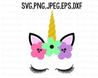 Unicorn Head SVG, Unicorn SVG, Unicorn Clipart, Unicorn Eyelashes SVG, Unicorn Face Svg, Svg Files, Cricut, Silhouette Cut Files