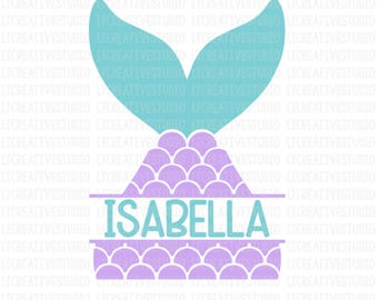 Mermaid Tail SVG, Split Mermaid Monogram Svg, Mermaid SVG, Mermaid Shell Svg, Summer SVG, Cutting Files For Silhouette and Cricut, Svg Files