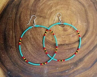 Large Turquoise Beaded Tribal Hoop Earrings