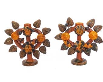 Vintage Mexican Folk Art Tree of Life PAIR of Candle Holders candleabras