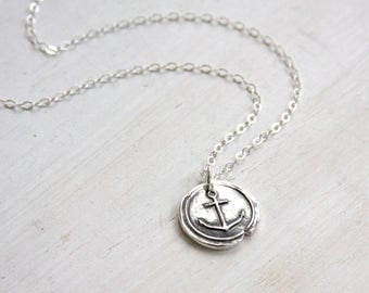 Anchor necklace, wax seal necklace, fine silver anchor necklace, nautical, charm necklace, everyday jewelry