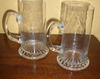 Clear Glass Tankards/Pair/MIDCENTURY/ANCHOR HOCKING/16 Ounces