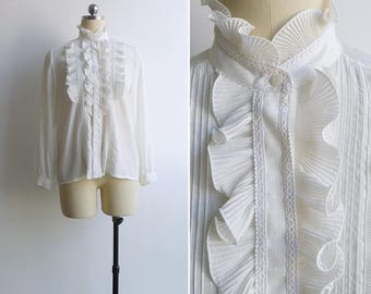 Vintage 80's 'Icing On The Cake' White Silky Ruffled Blouse S or M