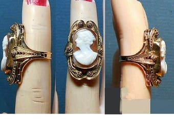 """1  10K Gold Large Shell Cameo Ring Vintage Hand Carved, Size 3, """"10K"""" Gold Filigree Ring Victorian Cameo w/ Hair Up, Hanging Tendrils, Tunic"""