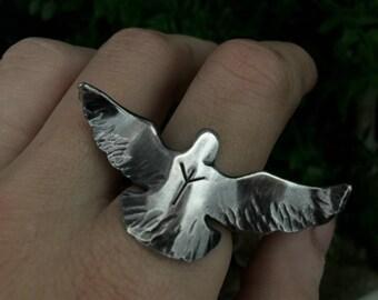 Viking Raven Ring - Viking Jewelry - Norse Rune Ring - Odins Ravens - Huginn and Muninn - Rune Jewelry - Choose any Elder Futhark Rune