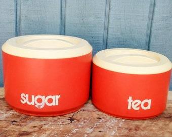 High Quality SALE   Vintage Orange Canisters   Sugar Canister   Tea Canister   Sterilite  Canister   Retro