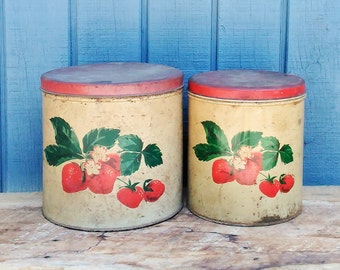 Vintage Kitchen Canisters - Strawberry Canisters - Retro Kitchen - Kitchen Storage