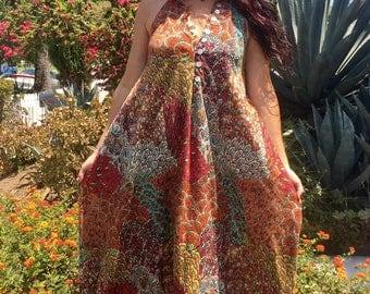 Vintage Indian Dress/Indian Kaftan Dress // Vintage hippie ethnic 70s cotton //Sleeveless Handmade Vintage Caftan//Bohemian hippy
