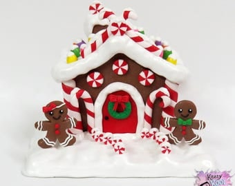Gingerbread House Polymer Clay Sculpture