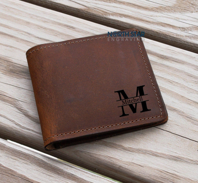 Mens Custom Wallet Monogrammed Wallet Gift for himCowhide