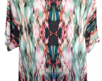 Green Tribal Shirt, Loose Fit Shirt, Oversize Shirt, Plus Size Shirt, Designers Shirt, Summer Shirt, Natural Shirt, Printed Shirt