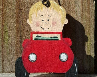 Boy in Car Ornament/Gift Tag/Party Favor -- OM32