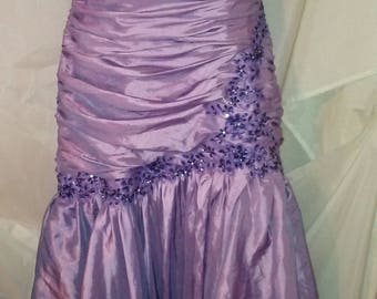 """90s Vintage Evening Gown-Bead Sequin Strapless Mermaid Ruched-Size 6-Medium-38"""" Bust-Prom-Wedding-Formal-High End"""