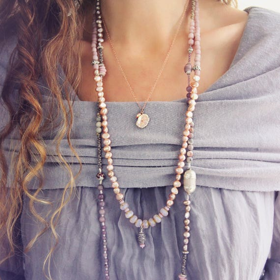 Long Pearl Necklace - Pink Boho Necklace