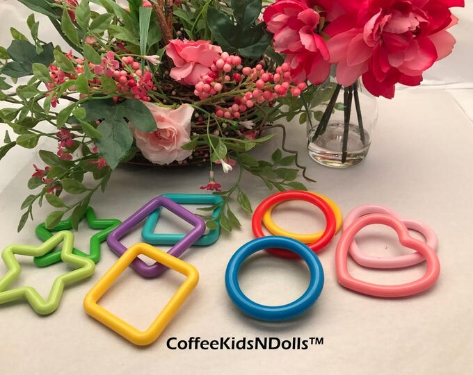 Solid Shape Rings // Assorted // Baby Toys // Clink Rings // Noise Makers // Toy Insert // Craft Supplies // Toy Making // Hanging Baby Toy