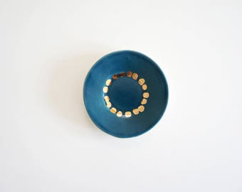 Teal and gold ceramic ring dish. The Object Enthusiast. Gold polka dots. Teal blue and gold. Jewelry dish. Ring holder. Unique ring dish.