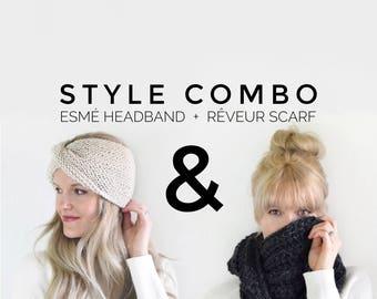 Knit Turban Headband Womens Earwamer Scarf Fashion Outfit / Womens Knit Headband Scarf Gift Set / Fall Fashion Winter Womens