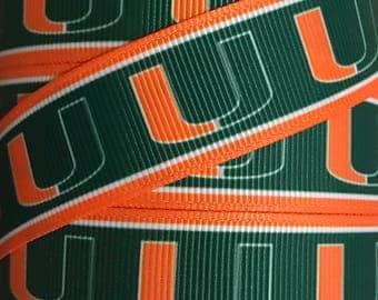 7/8 Inch Grosgrain Ribbon - Printed Grosgrain Ribbon - University Of Miami Ribbon - Ribbon By The Yard - Ribbon Supply - Collegiate Ribbon