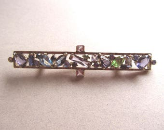 Glass Multi Color Brooch Pin Pastel Faux Gemstone Bar Vintage Costume Jewelry Victorian Style MoonlightMartini