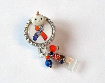 Pediatric BiPolar Awareness - Retractable Badge Reel - Awareness ID Clip - Unique Badge Holder - Designer ID Pull - Support Badge Pull