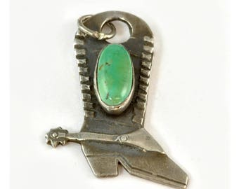 Vintage Fred Harvey Era Cowboy Boot Charm for Bracelet - Coin Silver with Turquoise -  1940s 925 Silver Gift for Her