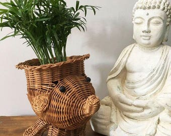 Wicker Elephant Planter / Small Woven Planter / Bohemian Planter / Indoor Gardening