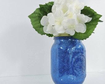 Sapphire Blue Wedding Decor Glitter Mason Jar Centerpiece, Baby Shower Decor, Graduation Party Decor, Birthday Party Decor and Home Decor