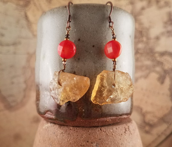 Honey Citrine Earrings with Burnt Orange Coral Accent