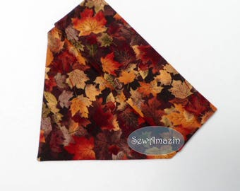 Autumn Maple Leaves Dog Bandana, Over-the-Collar Dog Bandana, Fall Dog Bandana