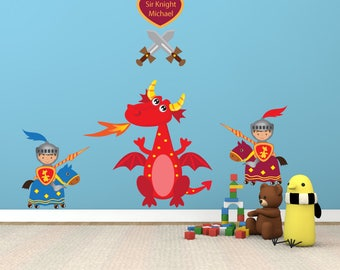 Knights Dragon Wall Decal REUSABLE Fabric Decals, Ecofriendly No Toxins No PVCs Decals, A231