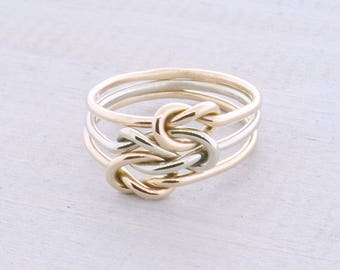 Triple Love Knot Ring, Silver Love Knot, Three Tone Ring, Silver Rose Yellow Ring, Promise Ring, Love Knot Jewelry, Gift For Her