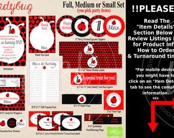 Ladybug Party Printables - Ladybug Birthday - Printable Party Set - Ladybug Party Kit - DIY Ladybug Party