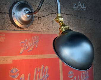 Wall light. Picture Light. Gooseneck Adjustable shade angle Sconce. Steampunk. Industrial. Edison.