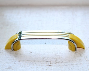 Art Deco Cabinet Door or Drawer Handle Yellow and Chrome 1920s