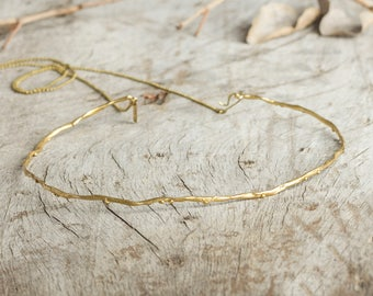 organic golden choker, sea salt trace necklace, sea waves choker, gift for her, natural golden necklace, minimal organic golden choker, mai