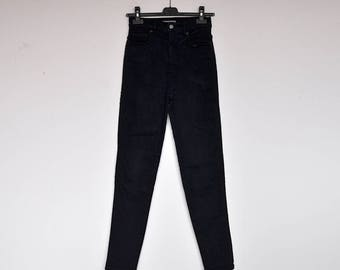 Vintage Casucci Navy Blue Ultra High Waist Stretchy Cigarette Skinny Pants